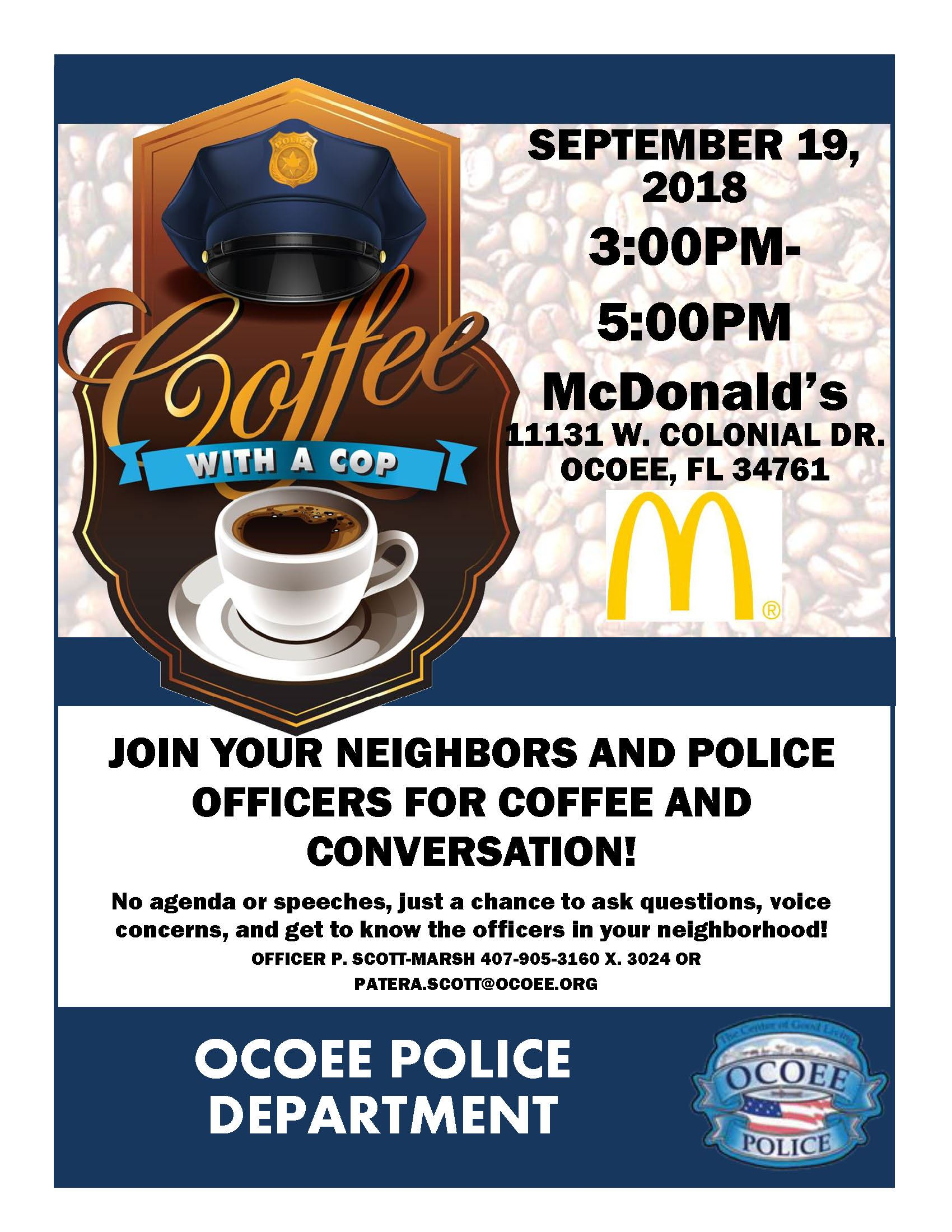 Coffee with Cop Flyer McDonalds Sept 2018