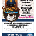 National Coffee with Cop Flyer Breakfast Club2018
